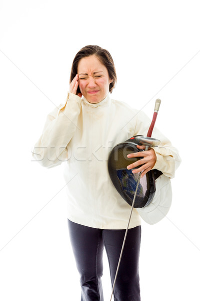 Female fencer suffering from headache Stock photo © bmonteny
