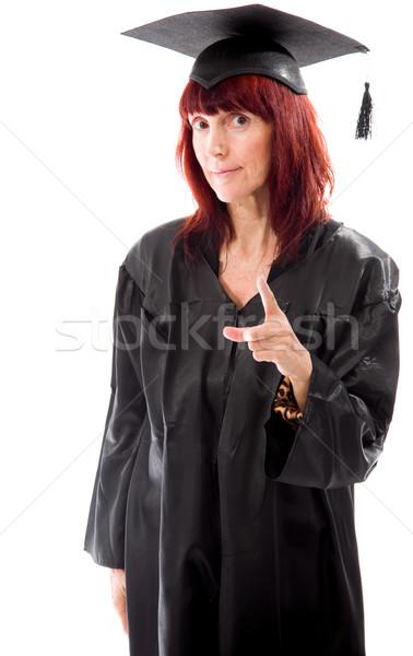 érett diák mutat nő oktatás kommunikáció Stock fotó © bmonteny