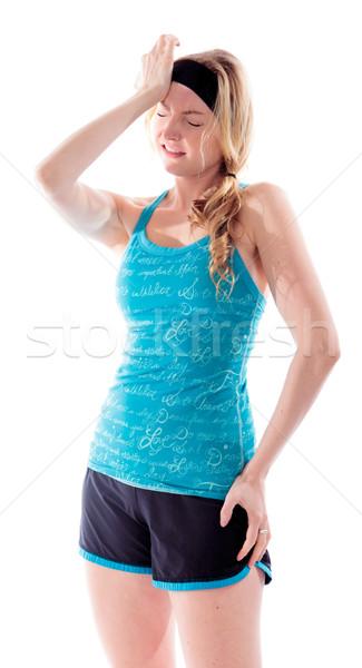 ストックフォト: 若い女性 · 頭痛 · ストレス · うつ病 · 立って