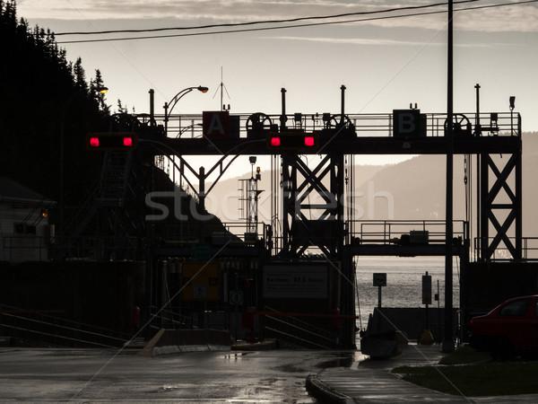 Sziluett kikötő szent folyó Quebec Kanada Stock fotó © bmonteny