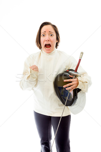 Female fencer looking scared Stock photo © bmonteny