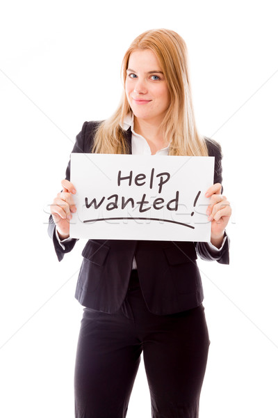 Businesswoman holding a message board with the text words 'Help Stock photo © bmonteny