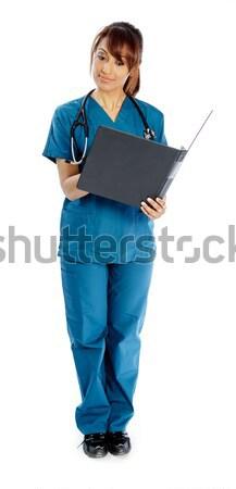 Vonzó indiai nő izolált fehér orvos Stock fotó © bmonteny