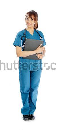 привлекательный индийской женщину изолированный белый врач Сток-фото © bmonteny