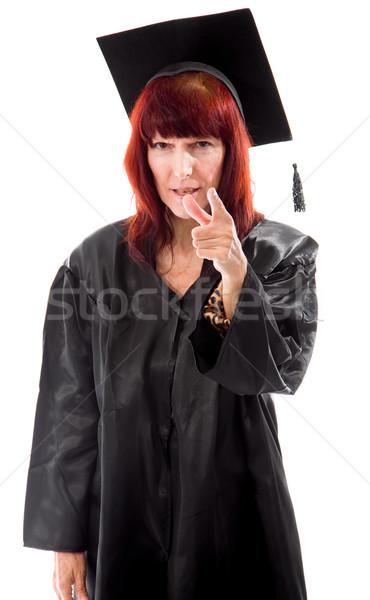 зрелый студент указывая женщину образование связи Сток-фото © bmonteny