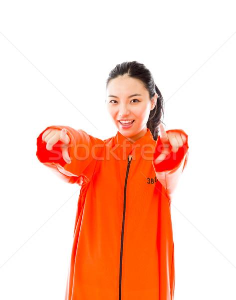 Jovem asiático mulher indicação câmera tanto Foto stock © bmonteny