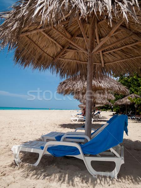 Székek tengerpart Havanna Kuba égbolt természet Stock fotó © bmonteny
