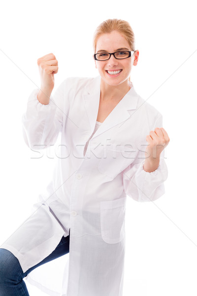 Female scientist celebrating success Stock photo © bmonteny