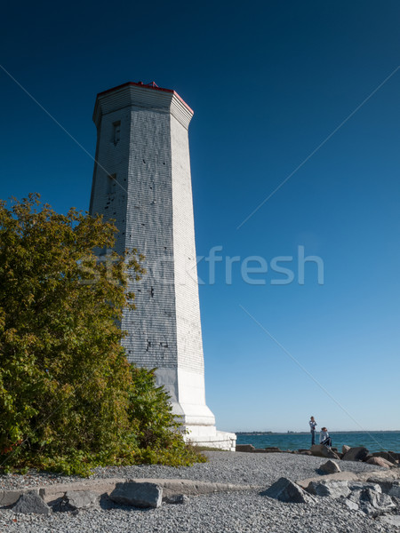 Low angle view of lighthouse on the coast Stock photo © bmonteny