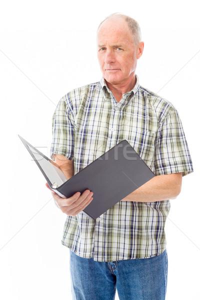 Idős férfi akta dolgozik olvas idős férfi Stock fotó © bmonteny