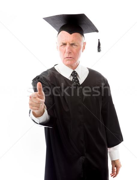 Senior mannelijke afgestudeerde wijzend man onderwijs Stockfoto © bmonteny