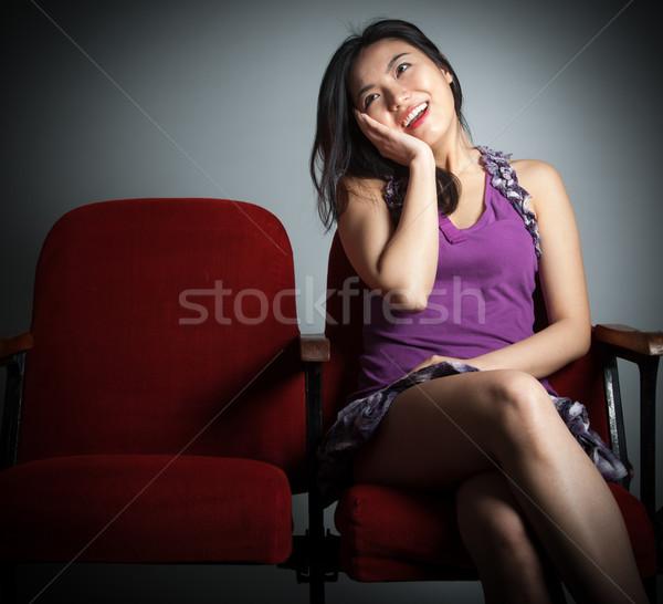 Vonzó ázsiai lány 20-as évek színház izolált Stock fotó © bmonteny