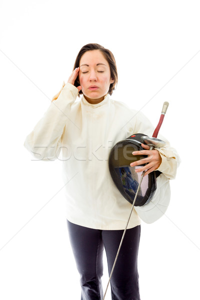 Female fencer meditating Stock photo © bmonteny