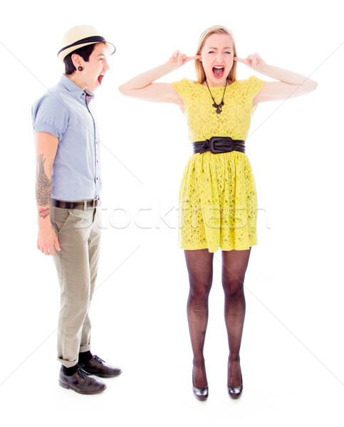Lesbian couple fighting to each other Stock photo © bmonteny