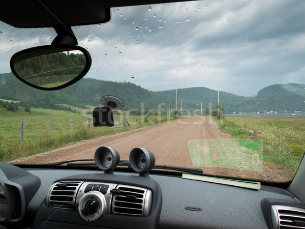 Road to village seen through windshield of a car, Quebec, Canada Stock photo © bmonteny