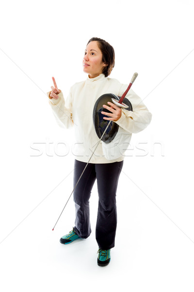 Female fencer holding a mask and sword with pointing up Stock photo © bmonteny