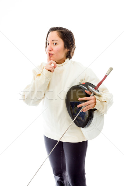 Female fencer with finger on lips Stock photo © bmonteny