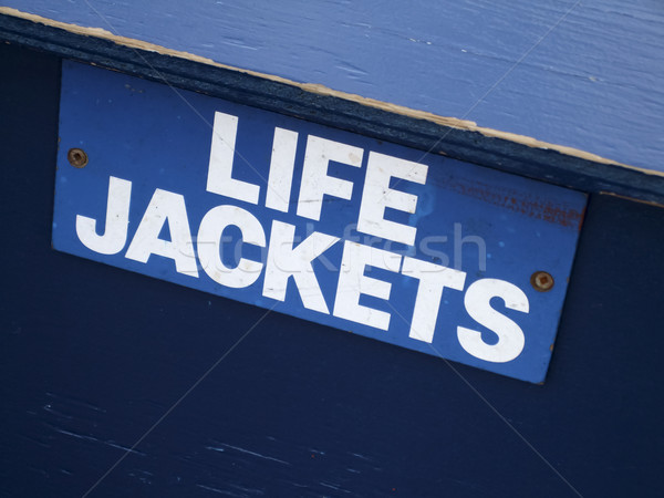 Close-up of a signboard of LIFE JACKETS Stock photo © bmonteny