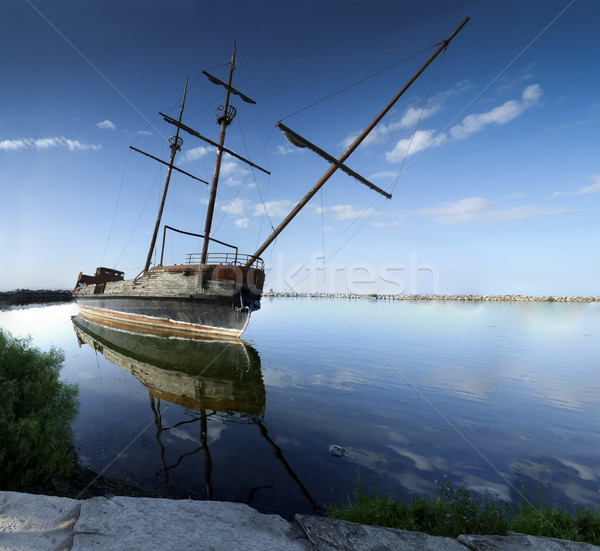 Replica of Grande Hermine ship, River St Lawrence, Ontario, Canada Stock photo © bmonteny