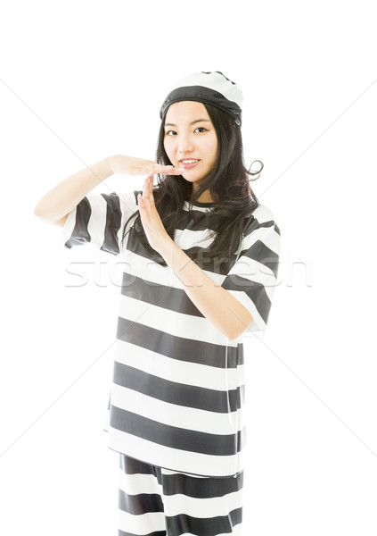 Young Asian woman making time out signal with hands in prisoners uniform Stock photo © bmonteny