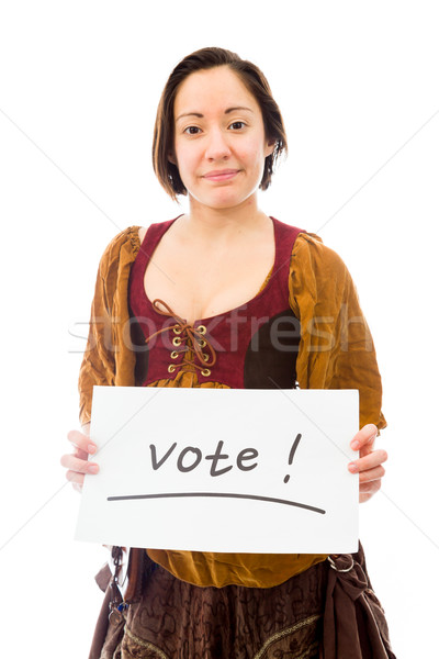 Young woman showing vote sign on white background Stock photo © bmonteny