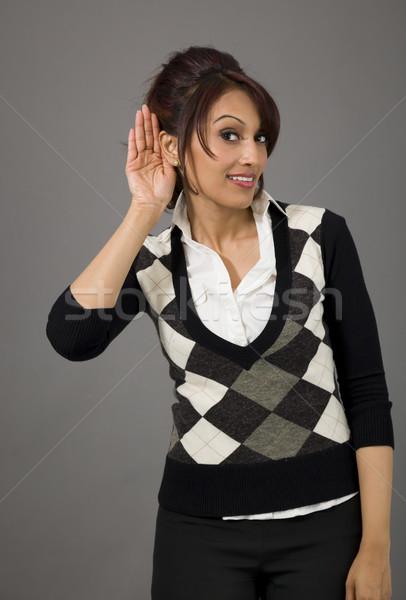 Indiai üzletasszony hallgat felnőtt nő stúdió Stock fotó © bmonteny