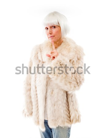 Senior woman wishing with crossing fingers Stock photo © bmonteny