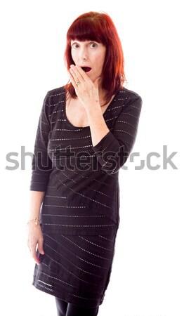érett nő néz megrémült nő áll fotózás Stock fotó © bmonteny