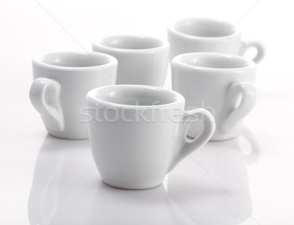 Csoport eszpresszó csészék izolált fehér Stock fotó © bmonteny