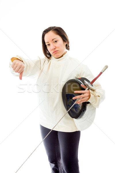 Female fencer showing thumbs down sign Stock photo © bmonteny