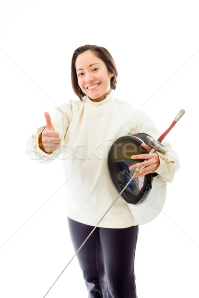 Female fencer showing thumbs up sign Stock photo © bmonteny