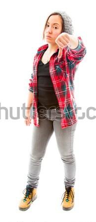 Fiatal nő mutat hüvelykujjak lefelé felirat fiatal felnőtt Stock fotó © bmonteny