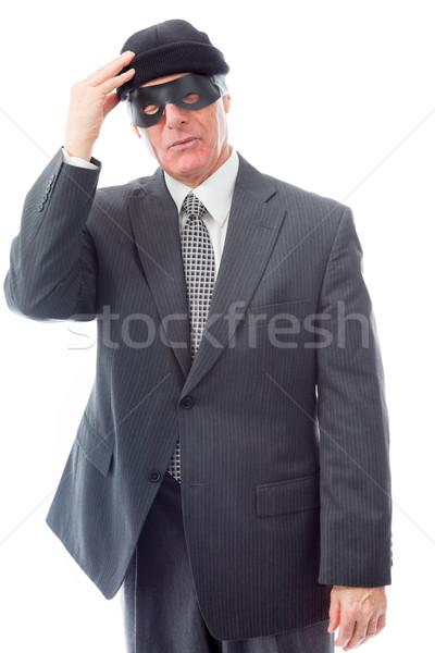 üzletember visel szem maszk jókedv vállalati Stock fotó © bmonteny