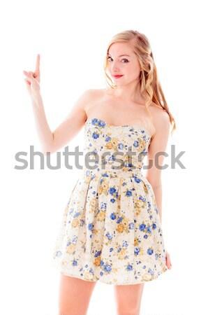 Gyönyörű fiatal nő áll ruha fehér háttér ötletek Stock fotó © bmonteny