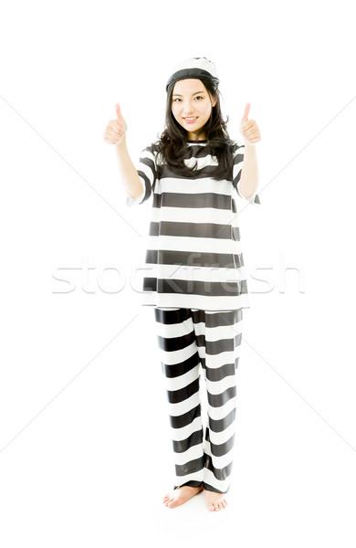 улыбаясь молодые азиатских женщину большой палец руки Сток-фото © bmonteny
