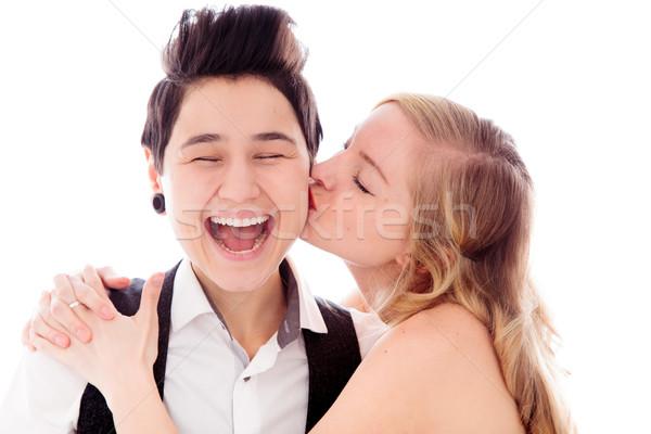 женщину целоваться лесбиянок партнера любви улыбаясь Сток-фото © bmonteny