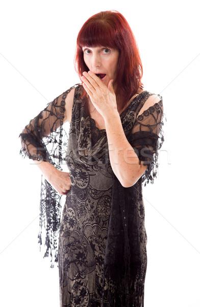 Rijpe vrouw hand mond schok vrouw portret Stockfoto © bmonteny