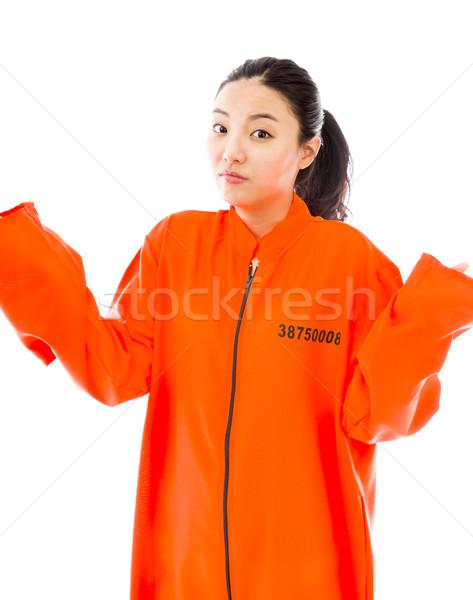 Fiatal ázsiai nő egyenruha narancs törvény Stock fotó © bmonteny