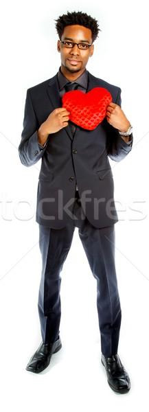 привлекательный деловой человек позируют студию изолированный белый Сток-фото © bmonteny
