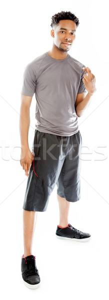 çekici adam poz stüdyo yalıtılmış kâğıt Stok fotoğraf © bmonteny