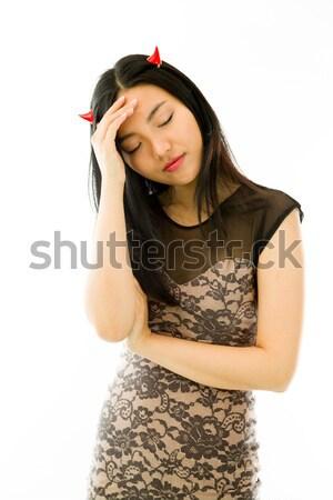 Asian młoda kobieta cierpienie głowy ból smutek Zdjęcia stock © bmonteny
