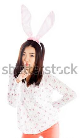 Portré szexi ázsiai visel nyuszi fülek Stock fotó © bmonteny