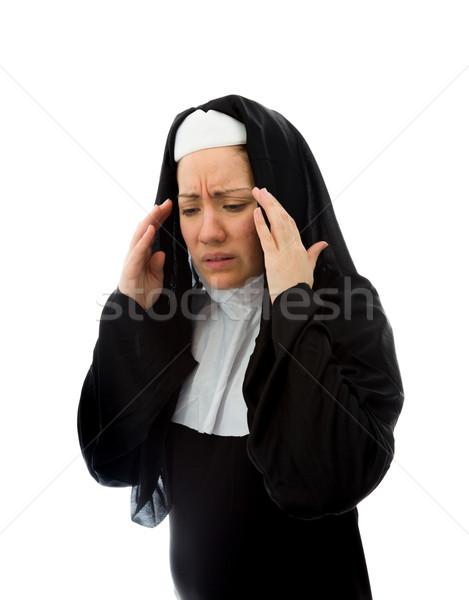 Jovem freira sofrimento dor de cabeça caucasiano Foto stock © bmonteny