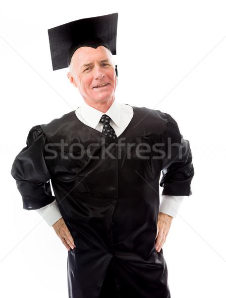 Idős férfi diplomás áll karok férfi Stock fotó © bmonteny