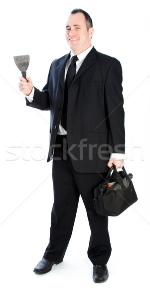 Kaukázusi üzletember 40 éves öreg izolált fehér Stock fotó © bmonteny