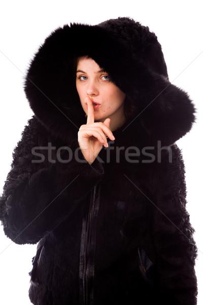 Fiatal nő ujj ajkak fiatal felnőtt kaukázusi nő Stock fotó © bmonteny