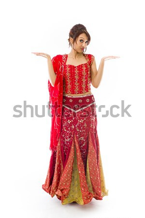 Young Indian woman showing product with open hand palm Stock photo © bmonteny