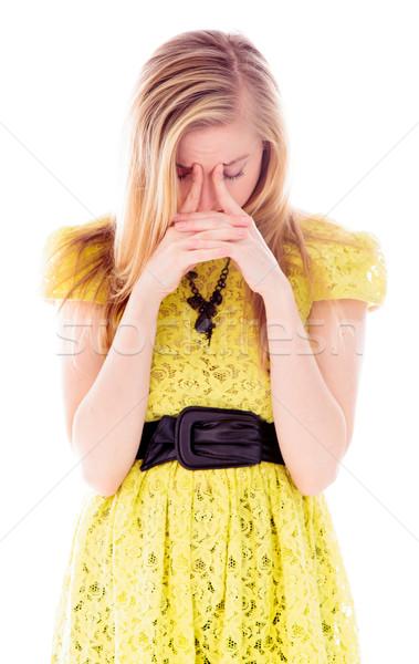 Fiatal nő néz csalódott stressz ruha áll Stock fotó © bmonteny