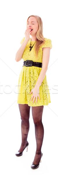 Jeune femme panoramique photographie ceinture fond blanc Photo stock © bmonteny