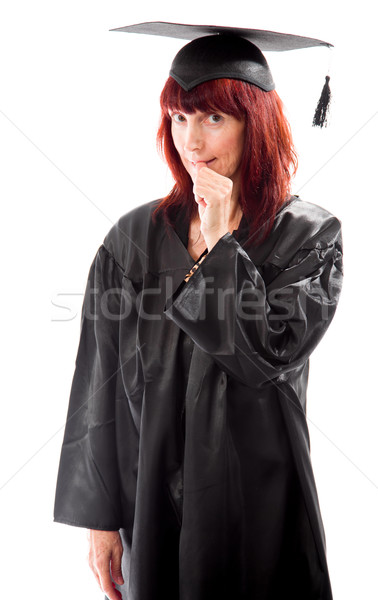 Mature student standing and biting fingernails Stock photo © bmonteny